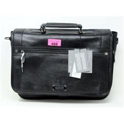 New Kenneth Cole Black Leather Laptop Bag