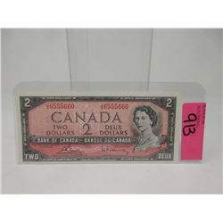 1954 Canadian $2 Bank Note - JG Prefix