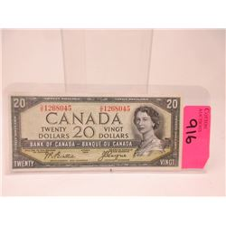 "1954 Canadian $20 ""Devil's Face"" Bank Note"