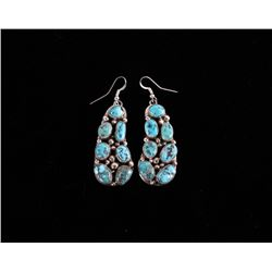 Navajo Sleeping Beauty Sterling Turquoise Earrings