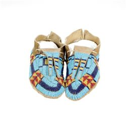 Sioux Beaded Hide Bifurcated Tongue Moccasins 1890