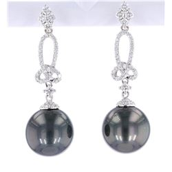 Scarce Black Tahitian Pearl Diamond 14K Earrings