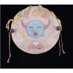 Acoma Pueblo Polychrome Painted Shield 1890-1900