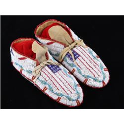 Northern Cheyenne Fully Beaded Moccasins 1890's