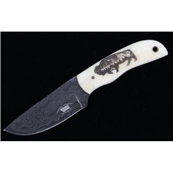 Yellowstone Buffalo Scrimshaw Damascus M.T. Knives