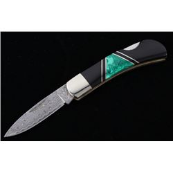 Damascus Malachite & Jet Custom Knife