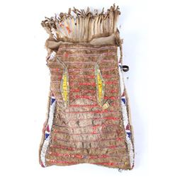 Cheyenne Buffalo Quilled & Beaded Pouch 19th C.