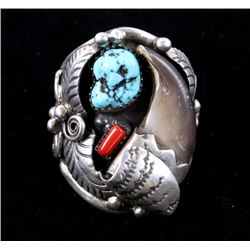 Navajo Begay Sterling Bear Claw & Multi Stone Ring