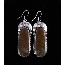 Navajo Turquoise Mountain Sterling Silver Earrings