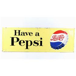 1957 Embossed Pepsi Cola Metal Advertising Sign
