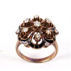 1930s Diamond & Black Enamel Cluster 14K Gold Ring