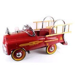 Fire Dept No 9 Hook & Ladder Pedal Car C. 1950's