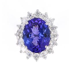 8.99 cts. Tanzanite 18K Ring w/ GIA & AIG Papers