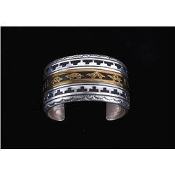 Navajo T&R Singer Silver 14K Gold Overlay Bracelet