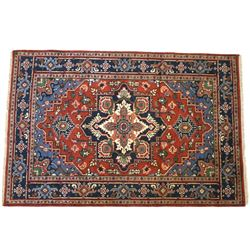 Heriz Serapi Persian Hand Knotted Wool Runner 1930