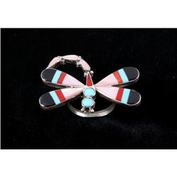 Zuni Mosaic Inlay Multi Stone Sterling Silver Ring