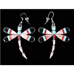Zuni Mosaic Inlay Multi Stone Sterling Earrings