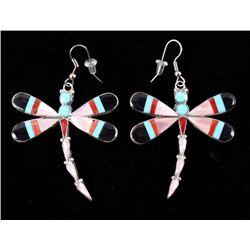 Zuni Mosaic Inlay Multi Stone Sterling Earrings