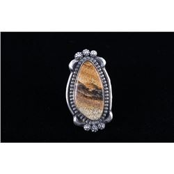 Navajo B. Lee Picture Jasper Sterling Ring