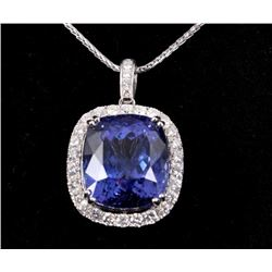 32.24 cts. Tanzanite & Diamond Platinum Necklace