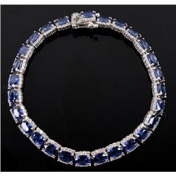 Luxury Blue Sapphire & Diamond 14K Gold Bracelet