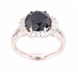 Rare 4.43 ct Black Diamond Platinum Ring