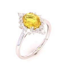 Bright Yellow Sapphire & Diamond Platinum Ring