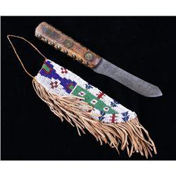 Cheyenne Beaded Sheath & Knife 19th Century