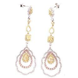 Fancy Yellow, Pink Diamond & VS2 Diamond Earrings