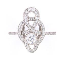 Antique Style Delicate Diamond Platinum Ring