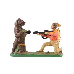 """Indian and Bear"" Mechanical Bank by J. & E.Steven"