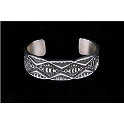 Navajo James Tahe Sterling Silver Cast Bracelet