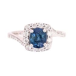 RARE No Heat Bi-Color Blue to Green Sapphire Ring