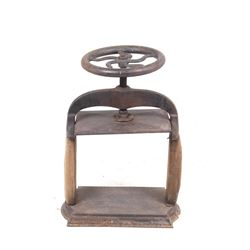 19th Century Iron & Oak Crank Book Press