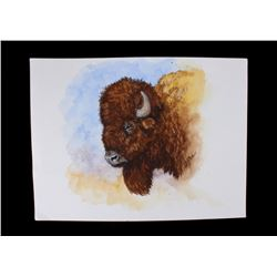 Buffalo Head Watercolor Painting John Jones 1940