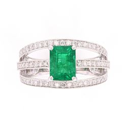 Green Emerald & Diamond Graceful Set Platinum Ring