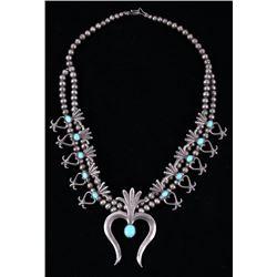 Navajo Turquoise Squash Sand Cast Necklace