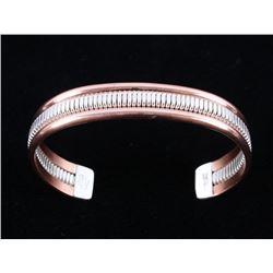 Navajo V. Tahe Copper & Sterling Silver Bracelet