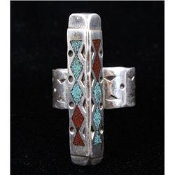 Navajo Raymond Begay Chip Inlay Sterling Ring