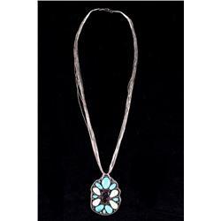 Navajo Elk Ivory & Morenci Turquoise Necklace