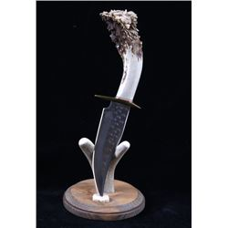 Hand Carved Lion Head Antler Bowie Knife & Stand