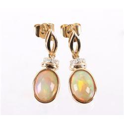 Ethiopian Opal & Diamond 14K Gold Earrings