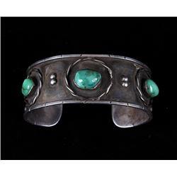 Navajo Old Pawn Silver Ajax Turquoise Bracelet