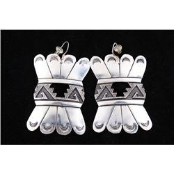 Navajo T&R Singer Sterling Hand Stamped Earrings