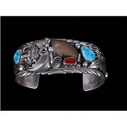 Navajo M Thomas Sterling Silver Bear Claw Bracelet