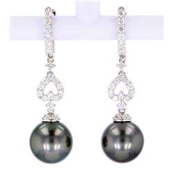 Scarce Black Tahitian Pearl Diamond Earrings