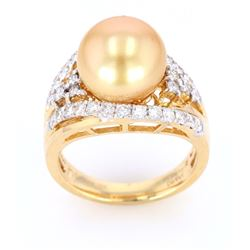Golden South Sea Pearl 14K Diamond Ring