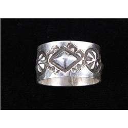 Navajo Sterling Silver Stamped Repoussé Ring