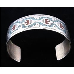 Navajo R. Begay Turquoise & Coral Chip Inlay Cuff