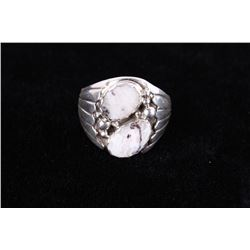 Navajo Alvery Smith White Buffalo & Sterling Ring
